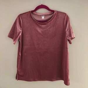 Old Navy Pink Velour short- sleeved top, size M